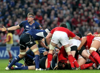 Leinster's Jamie Heaslip signals to the Referee after a scrum collapses last Saturday.