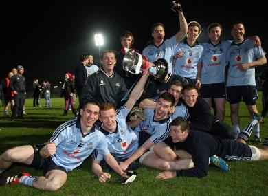 The Dublin U-21 team celebrate their win last night.
