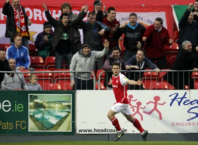 John Russell celebrates St Pat's second goal.