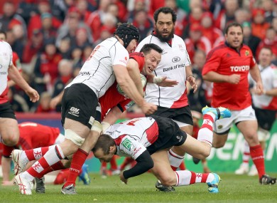 James Coughlan is crunched by Stephen Ferris, left, and Stefan Terblanche during Sunday's Heineken Cup quarter-final defeat against Ulster.