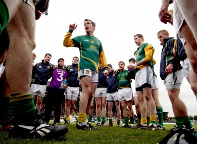 Meath's Seamus Kenny spreaks to his teammates before the game.