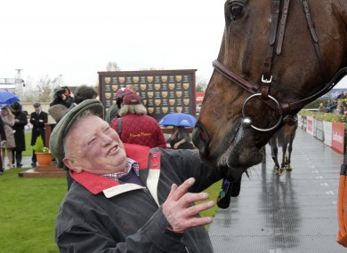 Trainer Peter Casey celebrates with Flemenstar