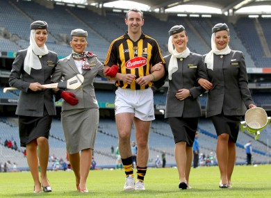 Kilkenny's Eoin Larkin with Etihad Airways staff.