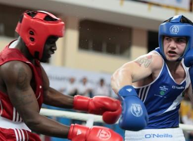 Ireland's Joe Ward lands a punch on Sweden's Kennedy Katende.