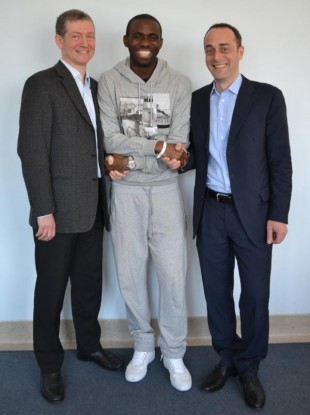 Fabrice Muamba pictured with Dr Andrew Deaner, left, and Dr Sam Mohiddin.