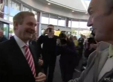 Enda Kenny confronted by Paddy Doyle in Athlone yesterday