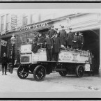 Firemen pose with their engine. Image taken between 1908 and 1916. (Library of Congress, Prints & Photographs Division)