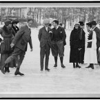 Ice-skaters at play in Tuxedo Park, New York. Image taken between 1904 and 1924. (Library of Congress, Prints & Photographs Division)