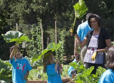 Michelle Obama shows off her gardening skills