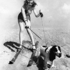 Marilyn Monroe at the beach with her dog Ruffles in 1947. (AP Photo/Press Association Images)