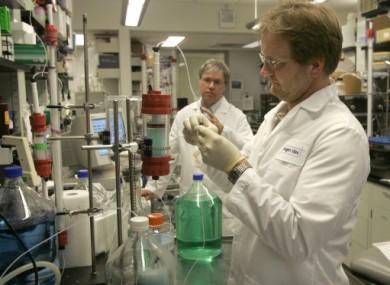 File photo of scientists working at Biogen Idec, which developed Tysabri.