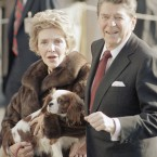 Nancy and Ronald Reagan with an early Christmas present in December 1985, a King Charles spaniel described as