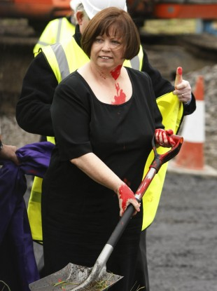 Remember this? Mary Harney gets painted in November 2010.