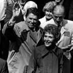 1984: In January American president Ronald Reagan and his wife Nancy visited Reagan's ancestral home in Ballyporeen in Tipperary.   Image: Photocall Ireland