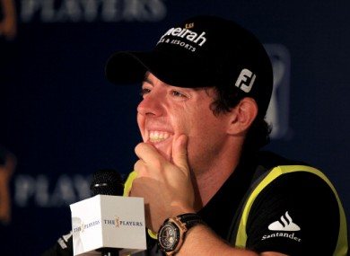 McIlroy faces the press room at Sawgrass earlier.