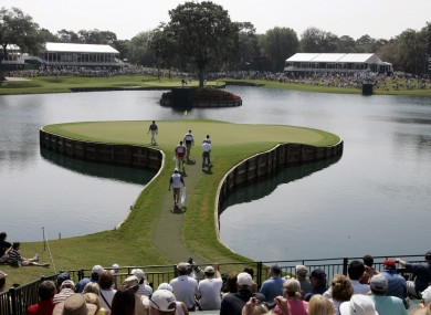 The iconic 17th hole at Sawgrass golf course.