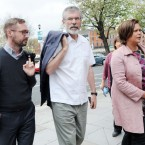 Sinn Fein President Gerry Adams (centre) keeps it casual as he arrived at the High Court this morning with Eoin O Broin (left) and Vice President Mary Lou McDonald  Photo: Laura Hutton/Photocall Ireland