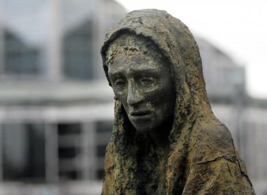 The Famine memorial sculpture by Rowan Gillespie in Dublin city.