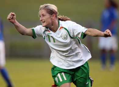 Half-century: Olivia O'Toole celebrates her 50th international goal for Ireland in 2007.
