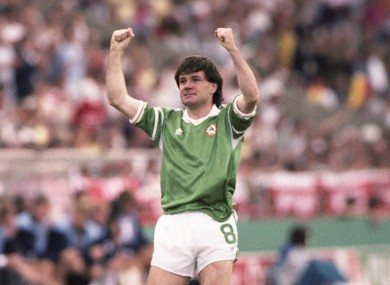 Houghton celebrates a famous moment in Irish sporting history.