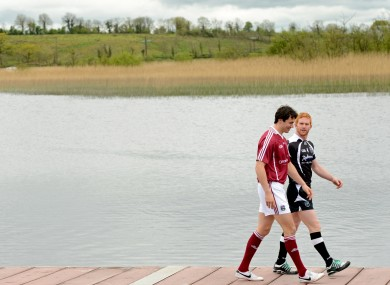 Galway's Finian Hanley and Sligo's Ross Donovan at the launch of the Connacht Football Championship yesterday.