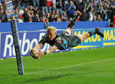 Hanno Dirksen of Ospreys goes over for a try in the second half of the RaboDirect Pro12 semi-final with Munster.