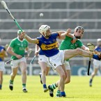Tipperary's Michael Cahill and Limerick's Seán Tobin at the Munster GAA Hurling Senior Championship Quarter-Final in Semple Stadium, Thurles, Co Tipperary yesterday. Image: INPHO/James Crombie