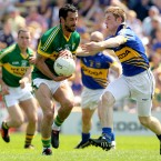 Kerry's Paul Galvin and Tipperary's Brian Fox in a face-off at the Munster GAA Football Senior Championship Quarter-Final in Semple Stadium in Thurles, Co Tipperary. Image: INPHO/James Crombie.