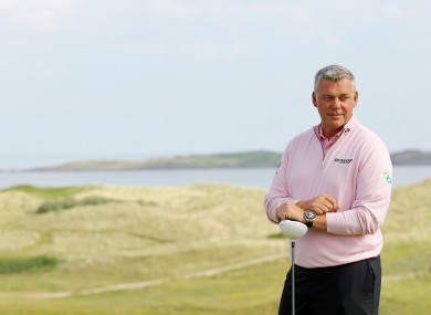 Darren Clarke on the 15th Hole at Royal Portrush GC yesterday.