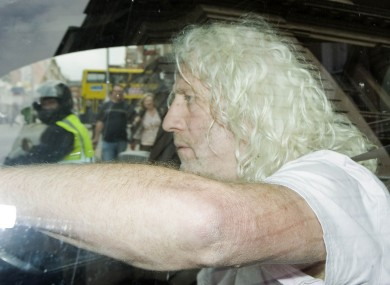 In the news for six days running, the under fire independent TD Mick Wallace leaving Leinster House this evening.