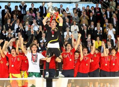 Captain Iker Casillas with his Spanish team-mates.