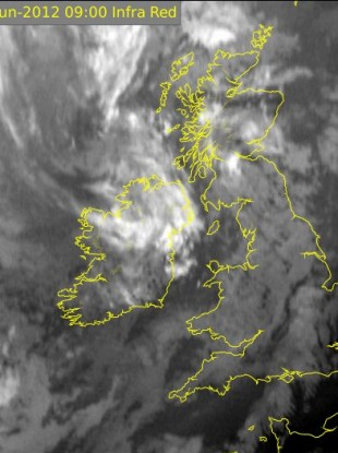 Infra Red Satellite of the weather picture over Ireland at 9am this morning