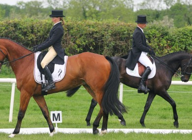 Competitors warm up before the dressage phase of Tattersalls International Horse Trials in Ratoath.