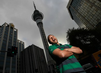 Ireland's Simon Zebo, who wins his first cap for Ireland on Saturday, pictured today in downtown Auckland.