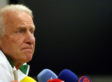 Manager Giovanni Trapattoni talks to the world's press this afteroon.