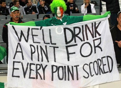 An Ireland fan at the first test in Auckland, New Zealand last week.