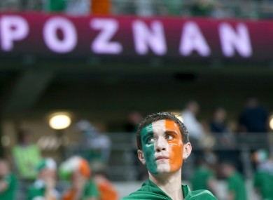 A dejected Irish fan after the game.