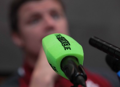 BOD gets acquainted with TheScore.ie microphone at Thursday's press conference in New Zealand.