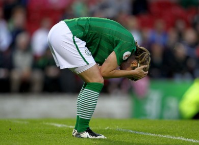Ciara Grant holds her head after Ireland's 1-0 defeat against Scotland last night, ending their hopes of qualifying for next year's European Championships.
