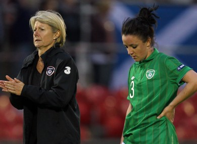 Ireland manager Sue Ronan and Sophie Perry dejected after the game.