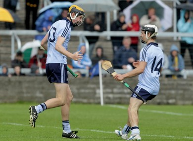 Dublin's Paul Winters celebrates scoring a goal with teammate Cian Boland in their Leinster MHC semi-final.