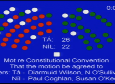 John Kelly, Denis Landy and James Heffernan all voted in favour of an opposition motion - resulting in an embarrassing 26-23 defeat for the government.