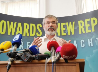 Gerry Adams at a press conference at Sinn Féin HQ in Dublin today.