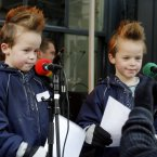 Twins Aaron and Robert Lynch from Castleknock, Dublin were 8 at this 2009 Christmas Eve broadcast of the Joe Duffy Show on Grafton Street. Who do we think they were imitating? (Pic: Mark Stedman/Photocall Ireland)