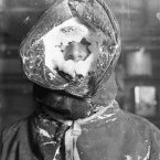 Ice mask around the face of Australian explorer and geologist Cecil Thomas Madigan, taken between 1911-1914. (Image: Frank Hurley)
