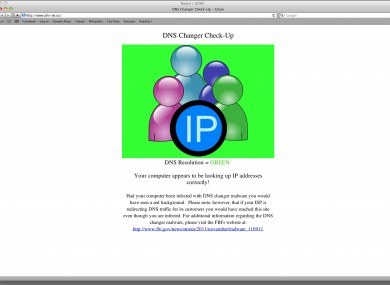 This is the screen displayed if your computer is free of the malware, according to the DNS Changer Working Group