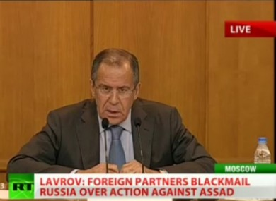 Sergei Lavrov at a press conference this morning.
