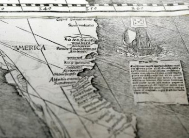 A copy of the 1507 world map which was handed over to the US in 2007.