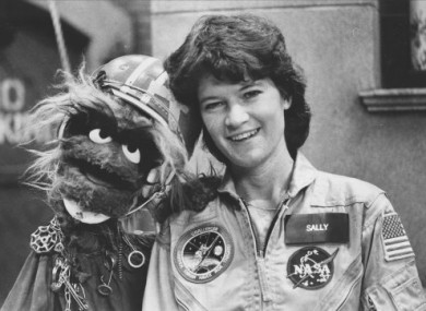 Sally Ride and friend in 1984 after her first mission into space.
