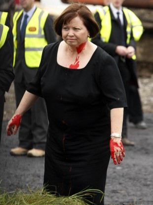 Mary Harney after she was pelted with red paint back in November 2010
